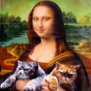 Splendid Beast Mona Lisa holding 2 cats