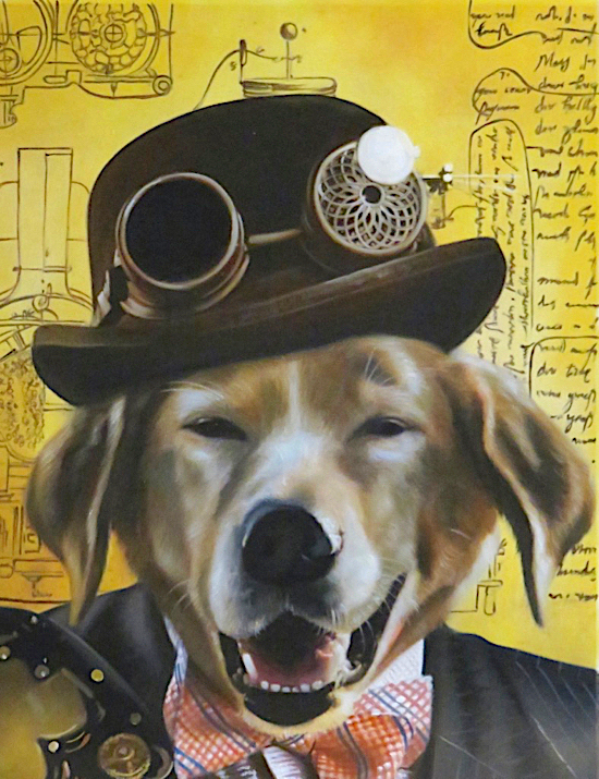 Dog portrait painted on canvas as a steampunk