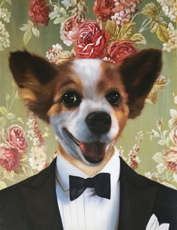 formal attire dog painting