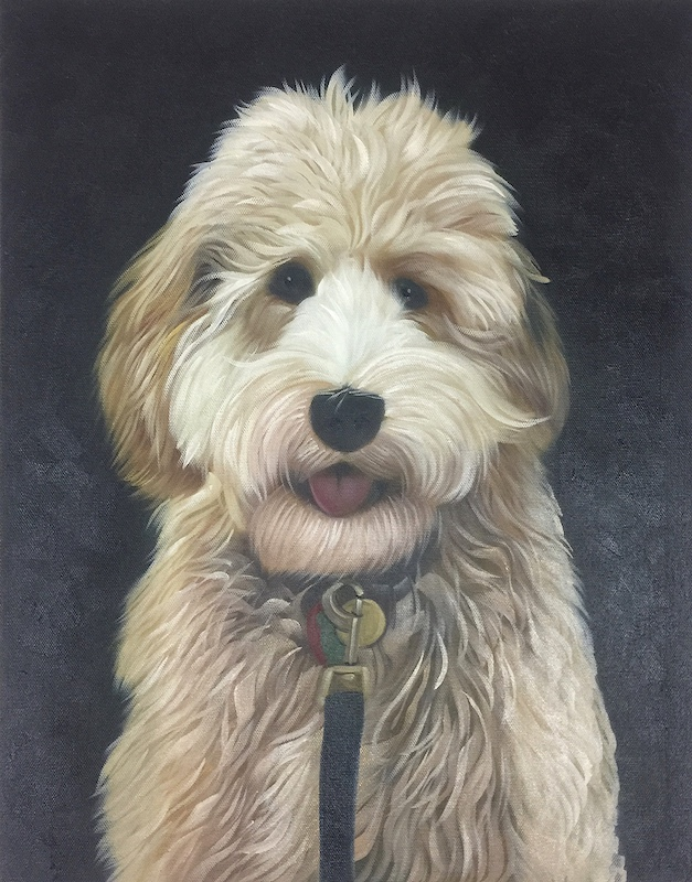 Furry white dog painted on canvas with black background