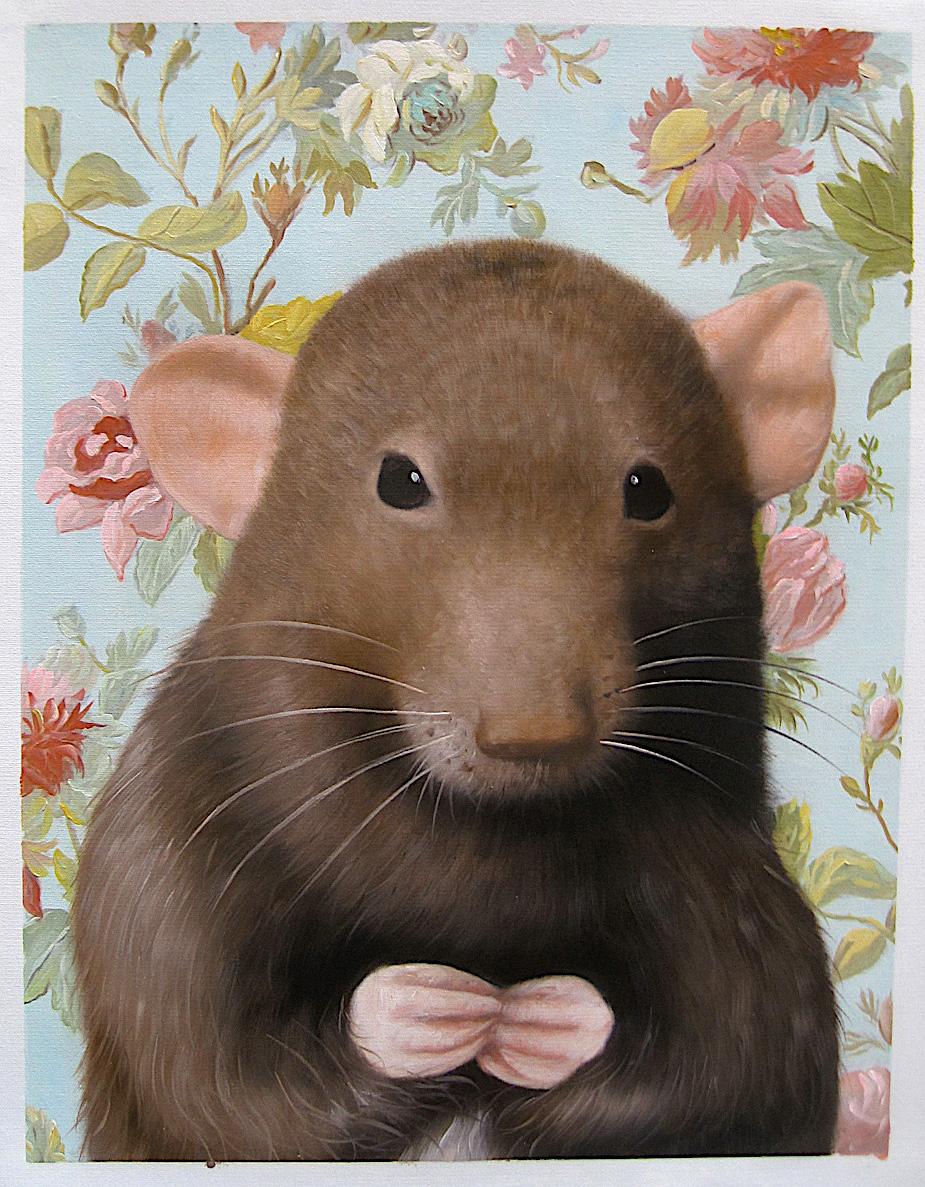 Rat Portrait with floral background