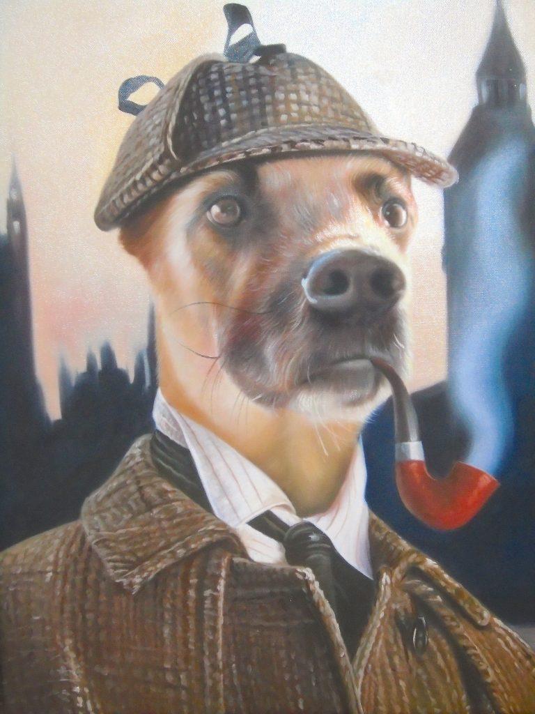 Dog Oil Painting Sherlock Holmes