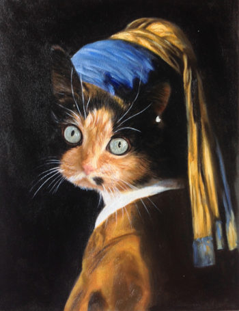 pearl earring cat custom painting