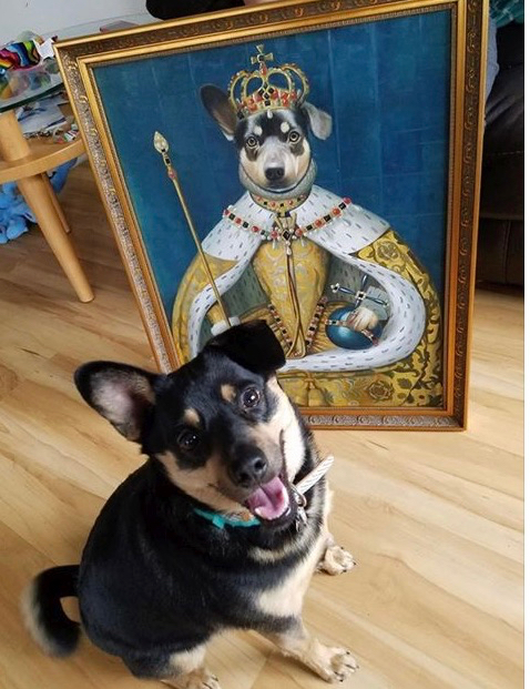 Dog sitting next to its painting