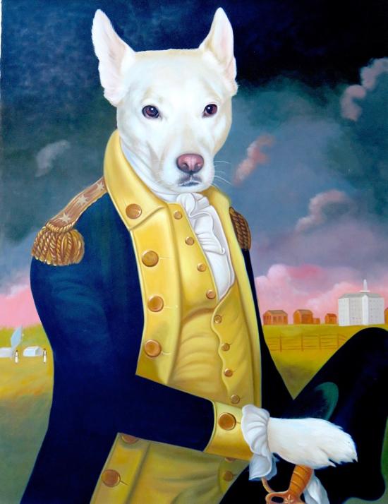 Dog portrait as George Washington