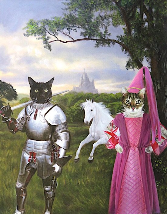 Fantastical Cat Painting of knights, princess, white horse & castle