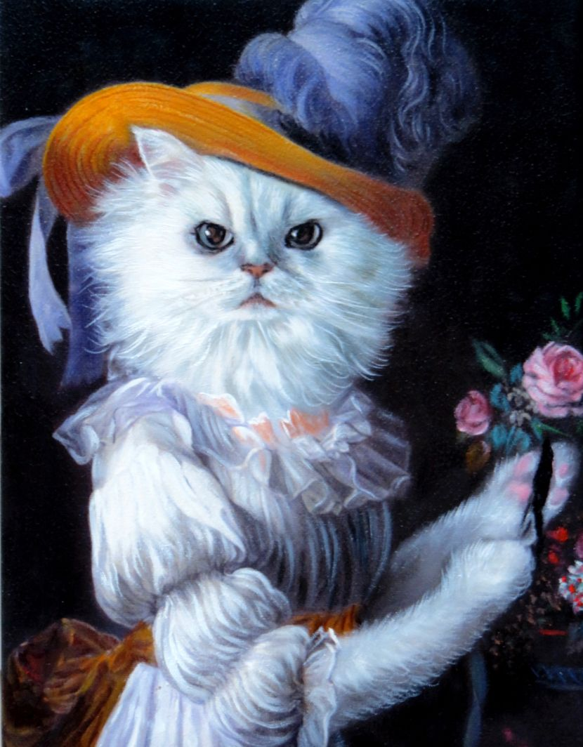 Cat Painted as Queen Marie Antoinette
