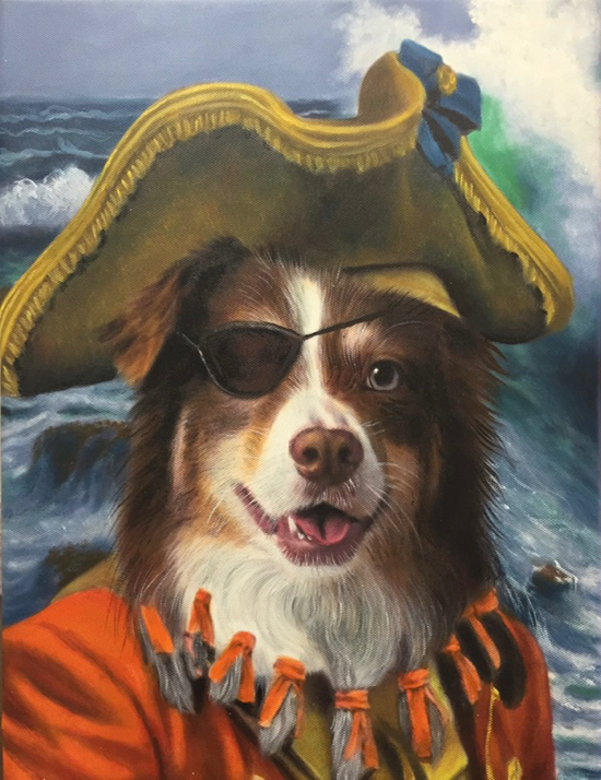 Dog painted as a pirate oil portrait by Splendid Beast
