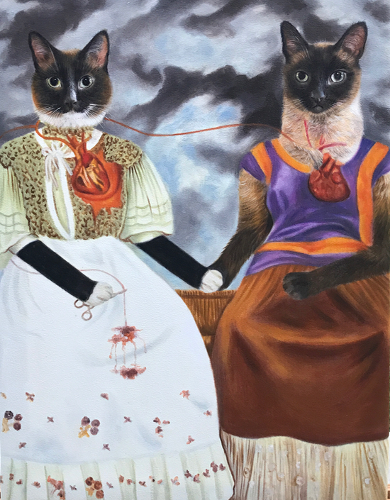 Two cats pose as the Frida Kahlo painting 2 Fridas
