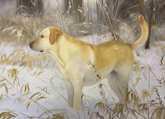 as is snow field dog painting