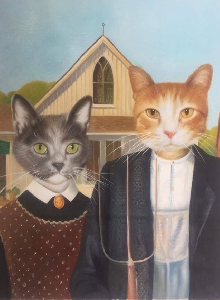 American Gothic pet painting