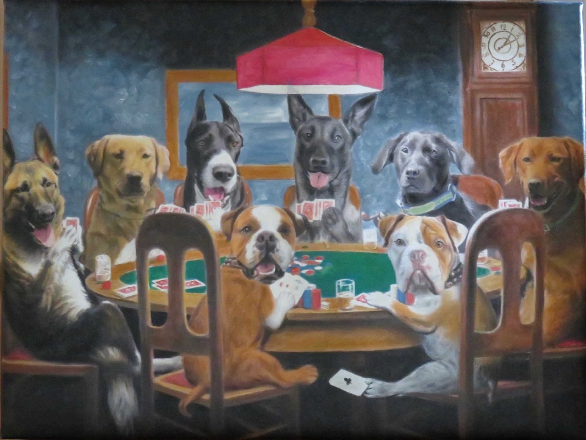 Dogs Playing Poker Painting of pets by Splendid Beast